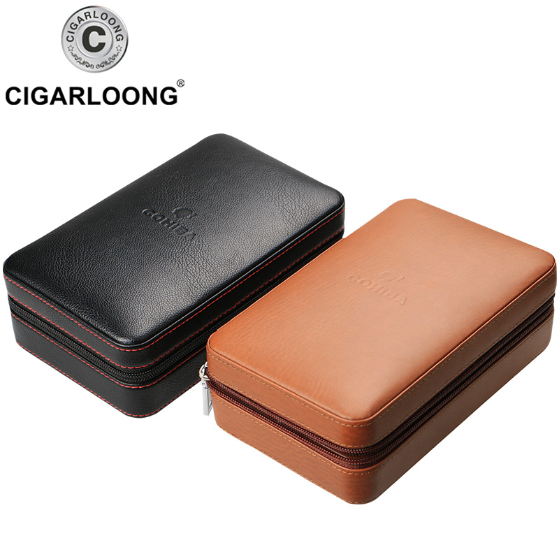 COHIBA Black Brown Leather Cedar wood Lined Cigar Case Humidor With Lighter Cutter Humidifier Set HH 1040 in Cigar Accessories from Home Garden