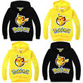 Kids Unisex Girls Boys Pikachu Hooded Fleece Hoody Pullover Tops Coat Years 2-8T