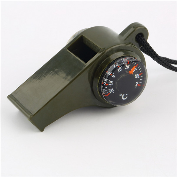 New black Whistle Compass 3 in1 Survival Camping Thermometer, free shipping