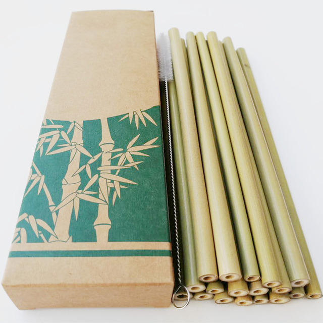 10pcs Natural Bamboo Drinking Straws Eco-Friendly Sustainable Bamboo Straws Reusable Straws with Straw Cleaner and paper box 1