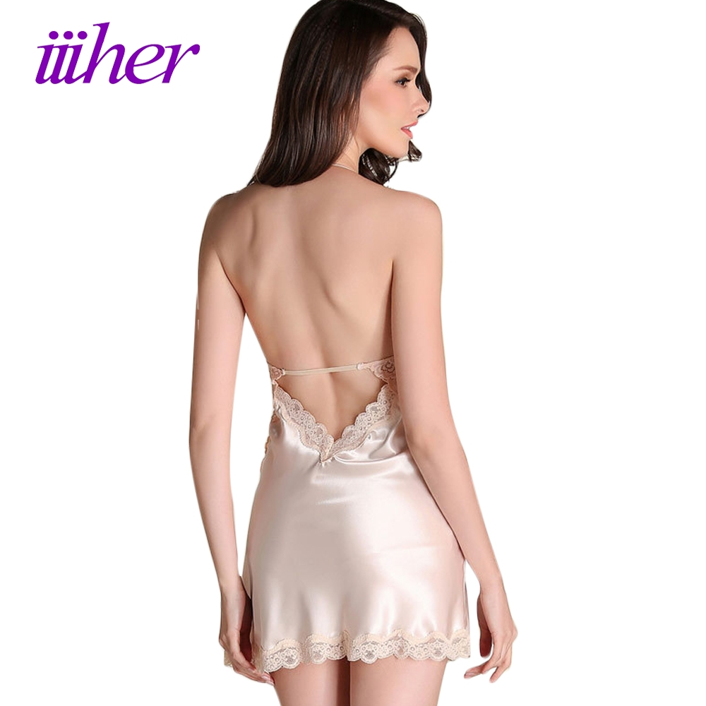 iiiher Sexy Sleepwear Female Temptation Night Dress Womens Nightgown Summer Lace Stain Nightgown Spaghetti Strap Belt Underwear