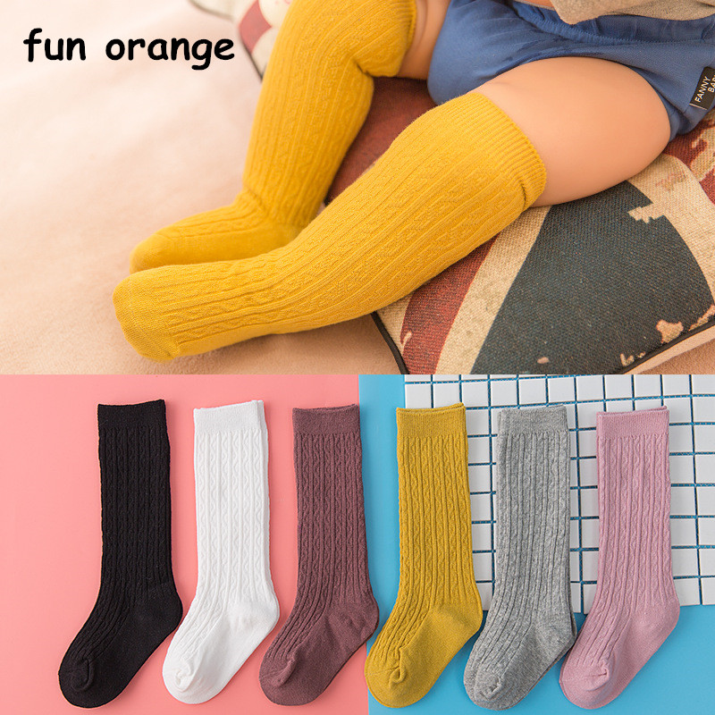 купить Fun Orange Cute Baby Knee Socks Newborn Infant Baby Cotton Knee High Socks Children Baby Girls Boys Socks For Age 0-4 Years по цене 129.2 рублей