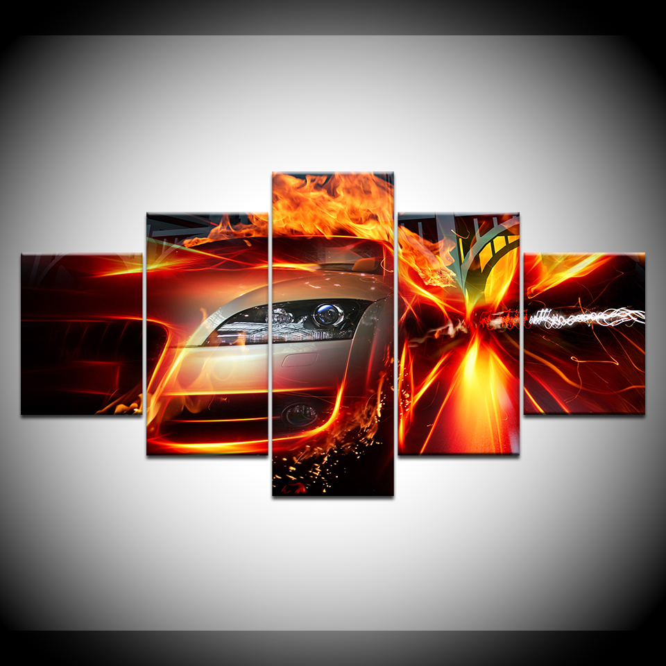 World Of Crash And Accidents Car Fire 5 Piece Canvas Wallpapers