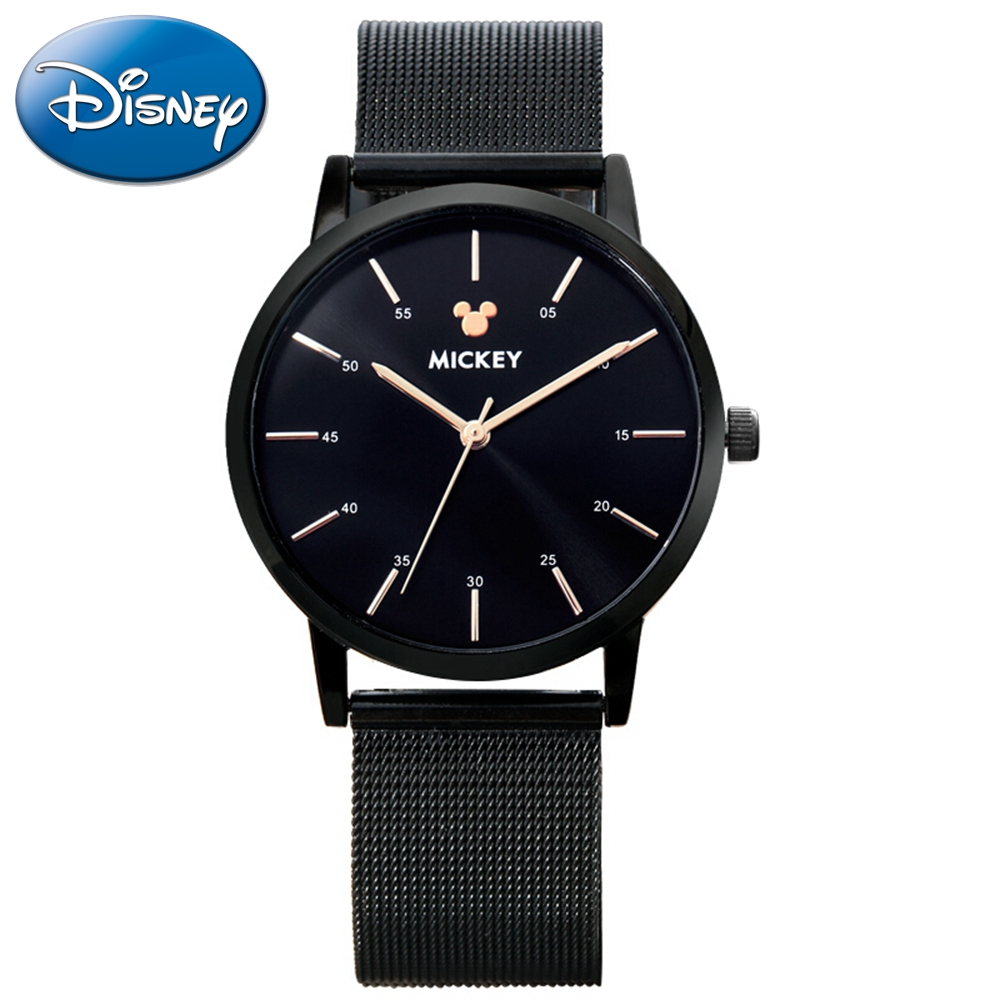 New Mens Stainless Steel Mesh Watch Unisex Women Man Leather Quartz Round Analog Clock Disney 12016 Mickey Mouse Quality Gift