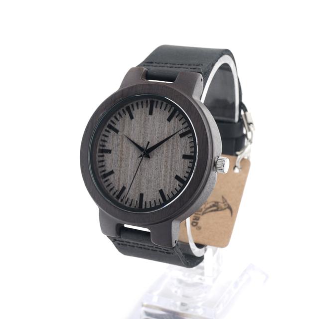 Nuevo diseño bobo bird diseño de madera reloj de los hombres relojes de cuarzo banda de cuero real relojes de madera vintage relogio masculino c-c26