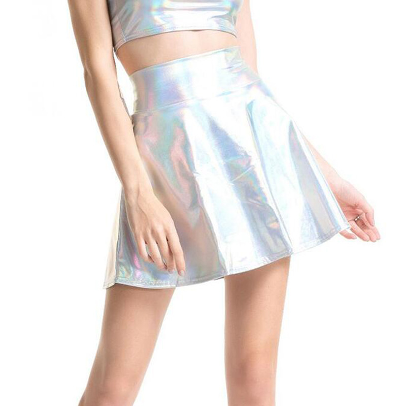 CUHAKCI Pleated Skirts Women PU Leather Solid Casual Sexy Skirt High Waist Silver Gold Mini Women Party Club Short Laser Skirts