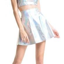 купить CUHAKCI Pleated Skirts Women PU Leather Solid Casual Sexy Skirt High Waist Silver Gold Mini Women Party Club Short Laser Skirts онлайн