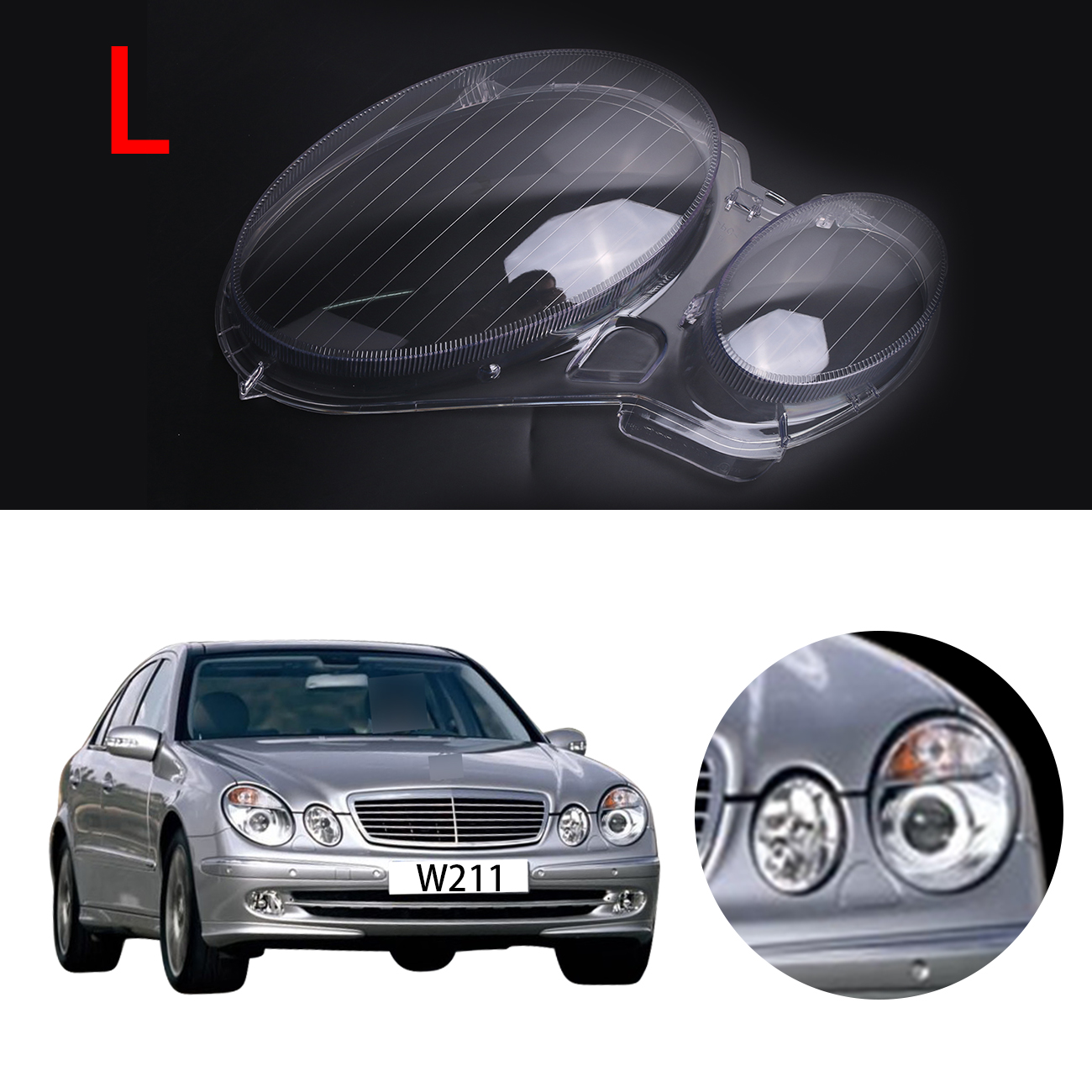 Left Transparent Housing Headlight Lens Cover Lamp Assembly For Mercedes Benz E-CLASS W211 E320 E350 E300 2006 - 2008 #PD554-L