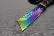 Colorful Colors VG10 Damascus Fixed Blade Knife Ebony Wood Handle Tactical Hunting Knife Fixed Square Straight Knife 1781#