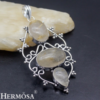 Fantasy Christmas Gift Natural Gold Rutiled Quartz 925 Sterling Silver Necklace Pendant For Women Handmade Party