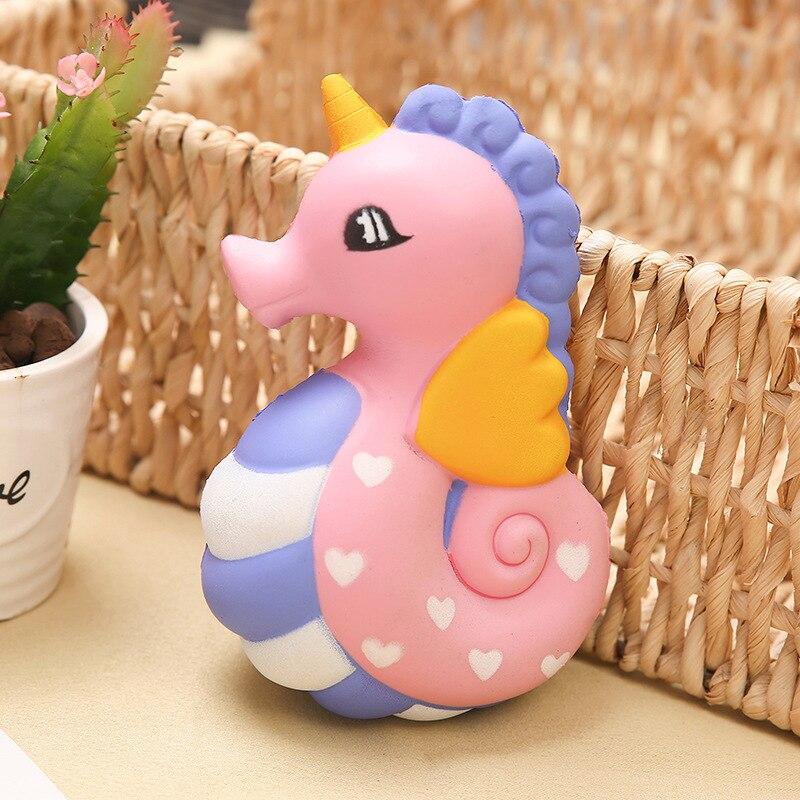 15.5*10.5*7 Big Squishy Slow Rising Jumbo Lanyard Squishy Slow Rising Seahorse Doughnut Lanyard For Keys Groot Phone Strap