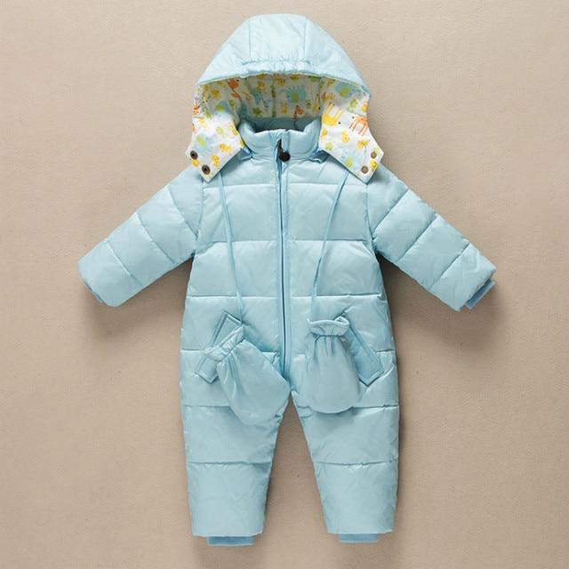 Бесплатная доставка белая утка вниз ребенка Ползунки зима унисекс детские snowsuit толщиной водонепроницаемый ползучая одежда