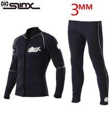 цены SLINX 3mm Neoprene Winter Wetsuit Jacket Men Rash Guard Scuba Diving SwimwearKite Surfing Snorkeling Swimsuit Tops & T-Shirt