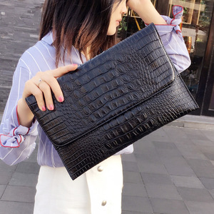 Image 3 - Women Envelope Evening Clutch Bags White Crocodile Pattern Female Genuine Leather Shoulder Bags Crossbody Purses & Handbags A121