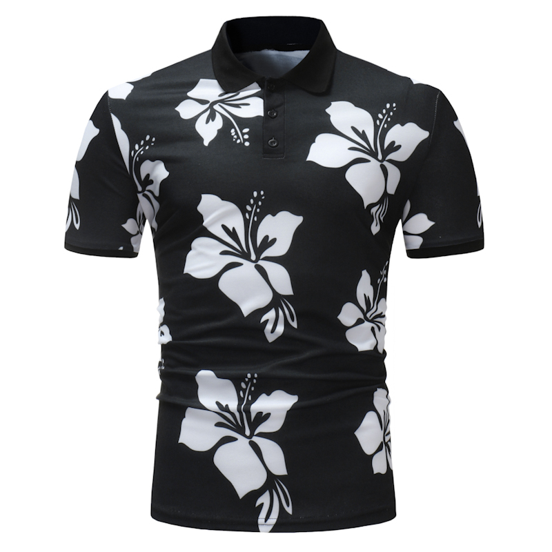 2018 New Design Short Sleeves Casual Business Men's   Polos   Flower Printed Fashionable Pullover Slim Fit Mens Plus Size Shirts