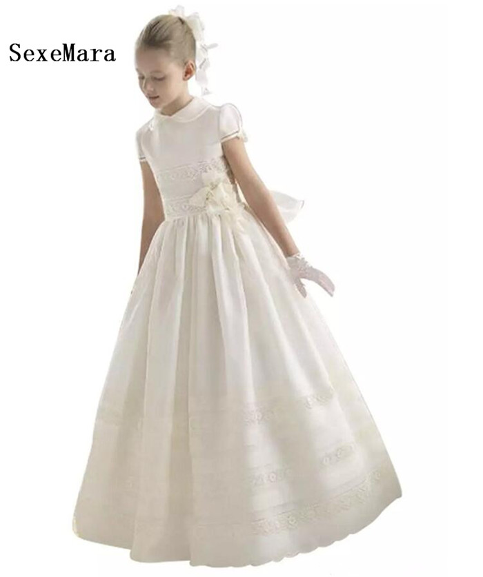 Vintage Ivory Flower Girls Dresses Floor Length First Communion Dress Girls Pageant Party Dress Kids Formal Wear Custom Made