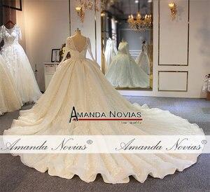 Image 4 - Stunning full beading shinny wedding dress long sleeves 2020 bridal dress real work amanda novias