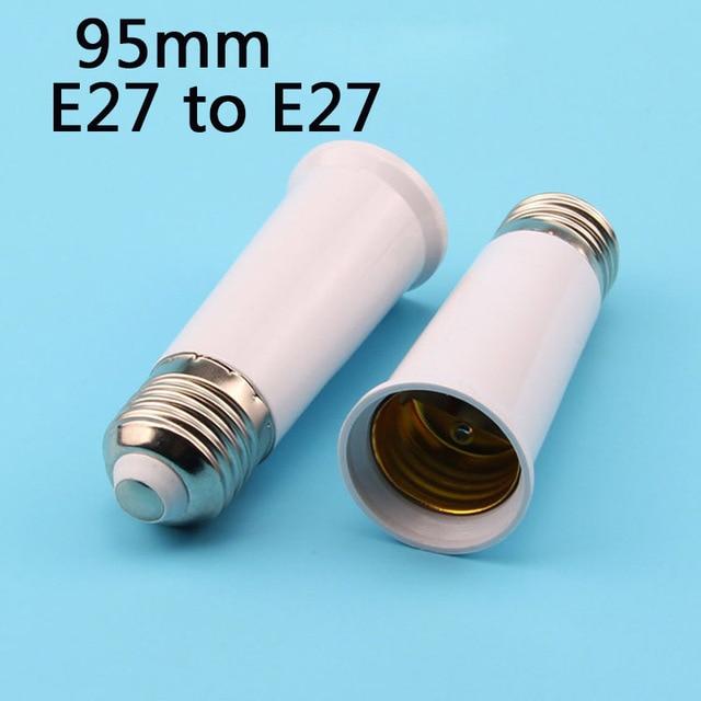 ( 5 pieces/lot ) memperpanjang ekstensi 95 mm E27 ke E27 dipimpin bola lampu pemegang basis lampu, Sekrup soket Adapter Converter