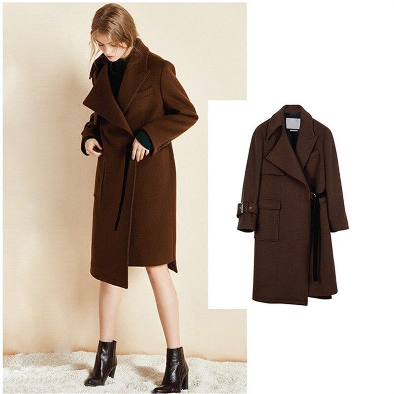 2018 Corea Abrigo Moda Lana Invierno Las Plus Tamaño 2xl Vintage Mujeres Largo De Abrigos xZaqBHwZY