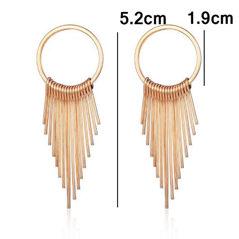 ZA Metal Statement Earrings Long Tassel Drop Earrings Women Geometric Maxi Pendant Earrings Wedding Jewelry Christmas Gift
