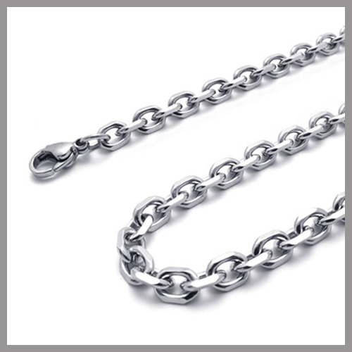 ---Min.Order $10--- 55cm 22 stainless steel 4-side Cable Chain Necklace, distinct Thickness,316 S.Metal, Free delivery