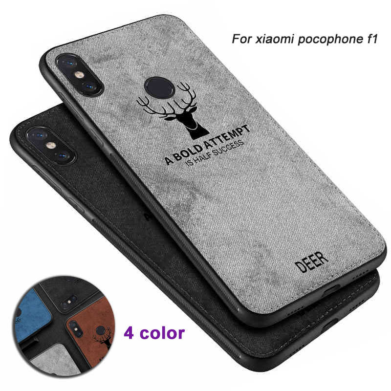 Full Protective For Xiaomi pocophone F1 Silicone Edge fabric Soft Back Cover Case xiomi poco f 1 pocof1 little f1 Luxury shell