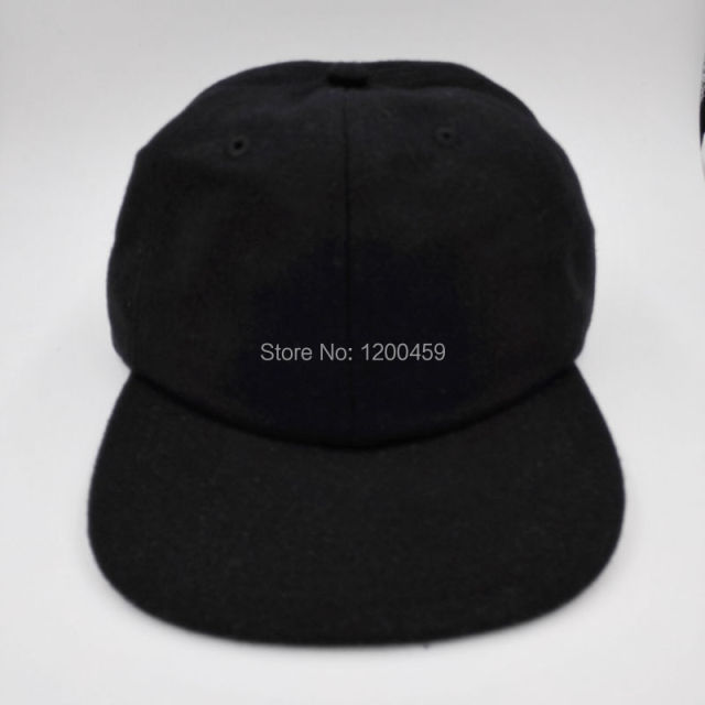 Wholesale 2014 New Flannel Solid Color Real Leather Adjustable Unisex Plain  Baseball Sport Cap Black Blank Polo Hat 0291a56f474