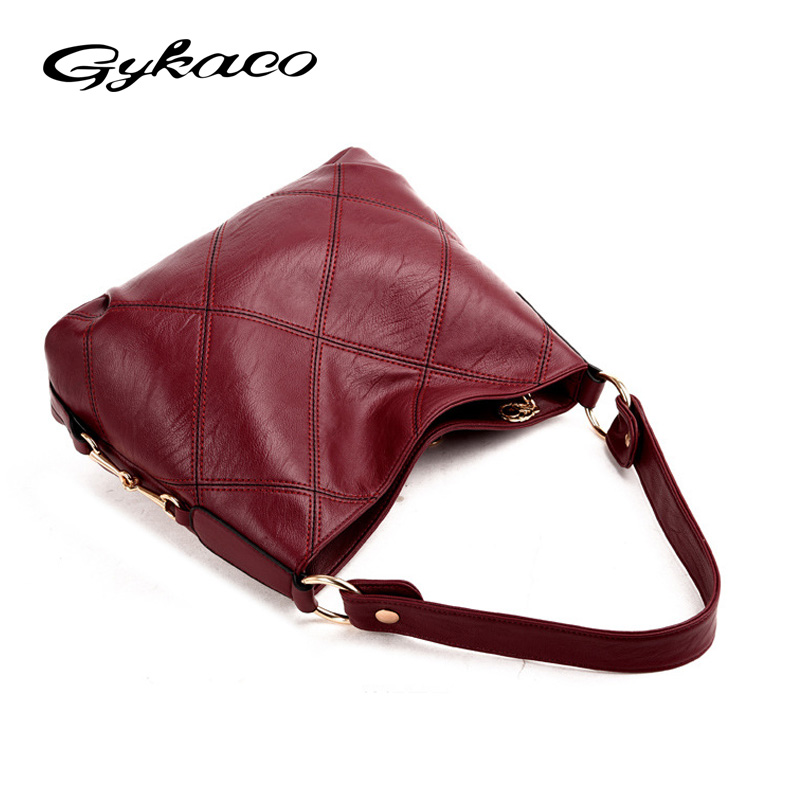 1e9929379f Gykaeo Brand Luxury Handbags Women Bags Designer Soft Leather Hobos  Shoulder Bags For Women Plaid Messenger Tote Bag Sac A Main-in Top-Handle  Bags from ...