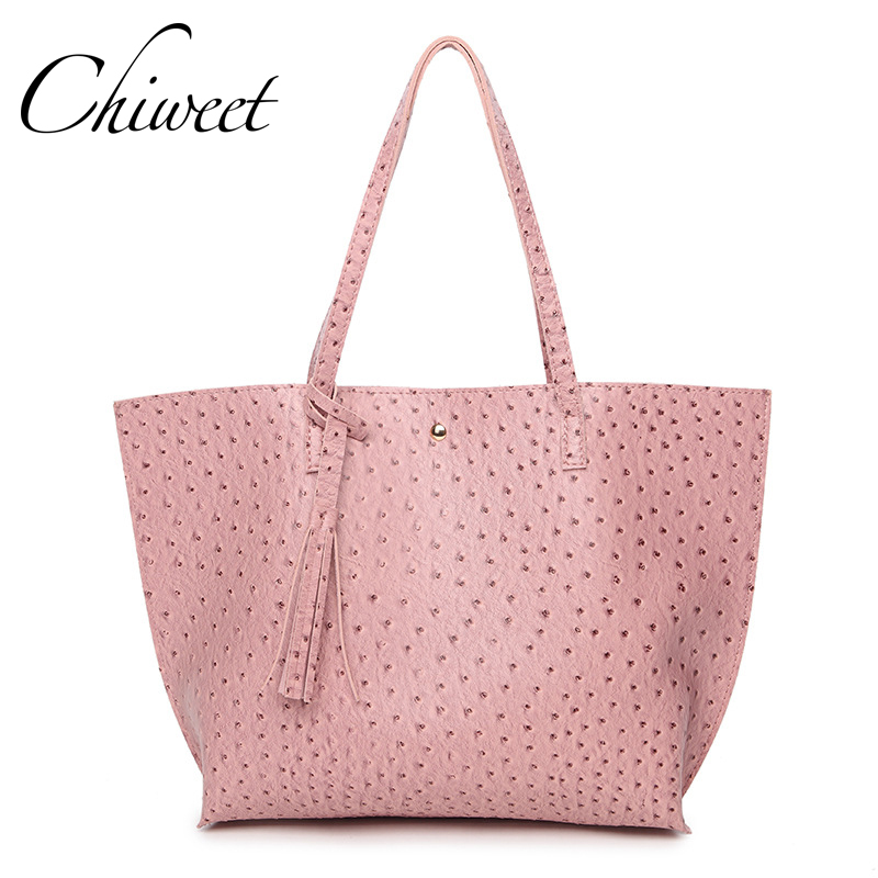 Designer Ostrich Pattern PU Leather Handbags Brand Luxury Pink Large Shoulder Bag For Women Vintage Ladies Hand Bags Female Tote floral pattern women handbags lash package shoulder bags three piece suit composite large tote bag for ladies