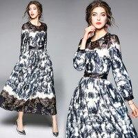 Fashion Floral Slim Tunic Big Swing Maxi Dress Elegant Office Party Boho Casual Dress 2019 Spring Long Sleeve Clothing