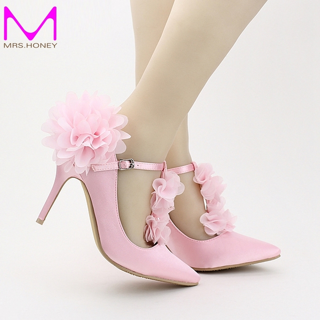 Spring 2016 Red Pink Satin Pointed Toe Bridal Shoes T Strap Lace Flower Wedding