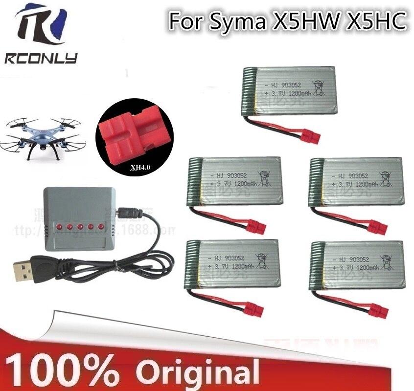Nouveau Pour Syma X5HW X5HC RC Quadcopter Batterie Ultra-haute Capacité 3.7 V 1200 mAh Lipo Batterie et 5 dans 1 chargeur Câble Pièces De Rechange