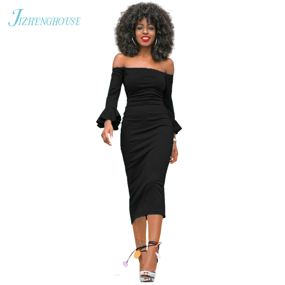 JIZHENGHOUSE New Sexy 6 Color Elegant Solid Stylish Casual Work Slash Neck Bodycon Midi Women Formal Pencil Party Dress