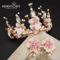 Free Bending Baroque Pink Queen Vintage Luxurious Floral Pearl Golden Bridal Hair Crown Hairwear Wedding Hair Accessory