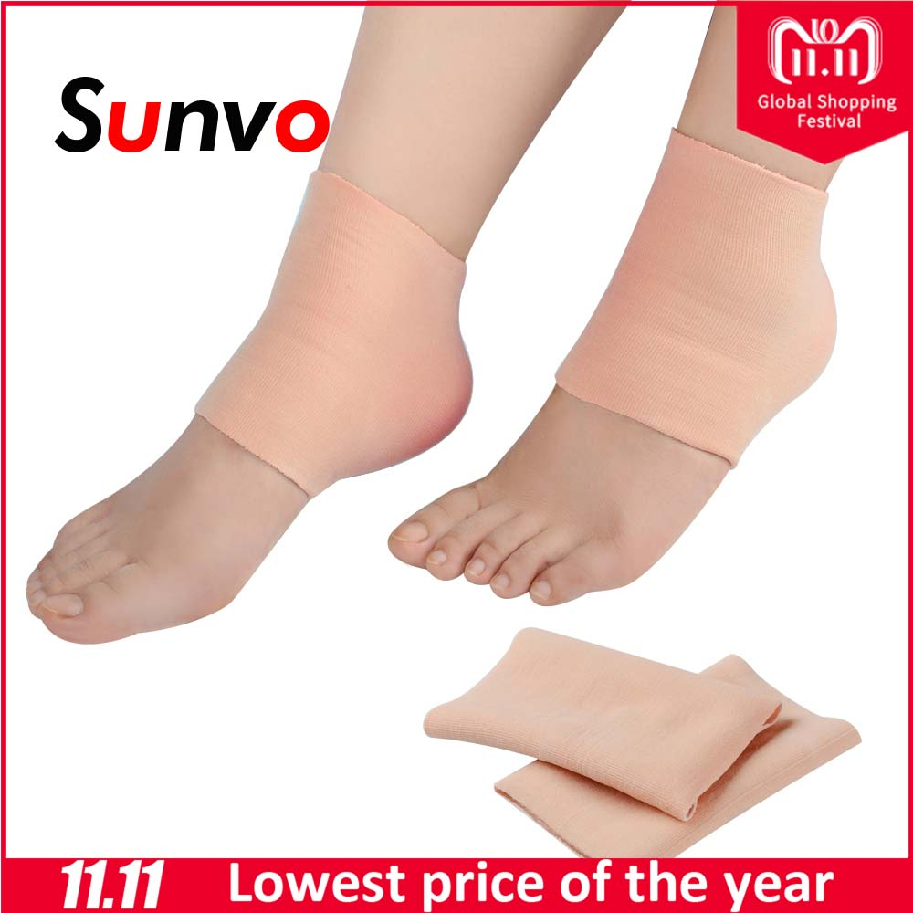 Sunvo Nylon Gel Heel Sleeve Pedicure Foot Care Protector Cracked Skin SPA Moisturising Pads Pain Relief Ankle Socks Inserts skin care for dry hard cracked skin moisturising spa gel silicone socks rejuvenation foot mask softex