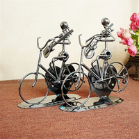 HAOCHU Metal Alloy Music Performers Ride A Bicycle Model Guitar Saxophone Music Box Home Table Decor