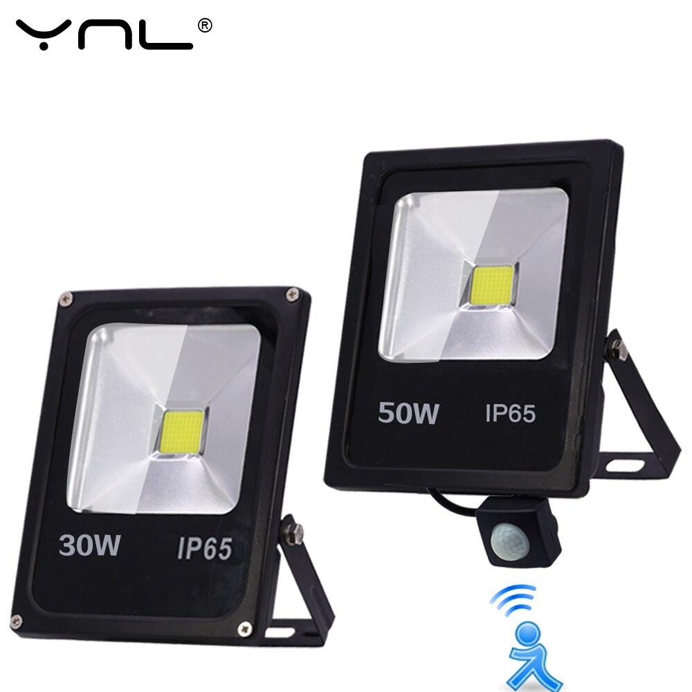 Sensor de movimiento LED Luz de inundación impermeable IP65 Reflector de la lámpara 10W 30W 50W 220V foco LED para exterior de la puerta