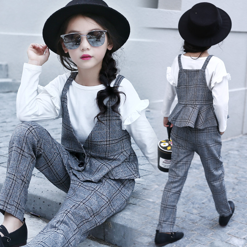 Girls Clothing Sets Cotton Plaid Vest + Pants For Girls Fashion 2Pcs 2018 Autumn School Outfits Students Clothes 10 11 12 13 14 цены