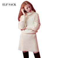 ELF SACK 2018 Spring Lace Parchwork Women Dresses Female High Collar Solid Street Wear Knitted Dresses Waisted One Piece