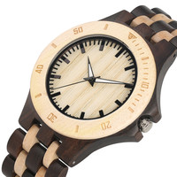 Unique Handmade Ebony Wood Watch for Men Folding Clasp with Safety Wood Watches Natural Quartz Watch Movement Wood Wristwatch