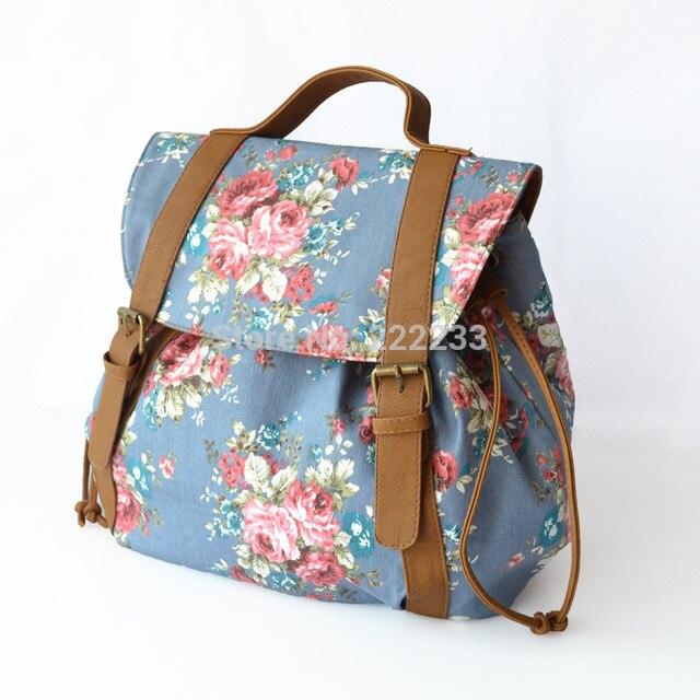 Vento colégio canvas Floral imprimir mochila saco de inverno estudante mochilas coréia do pu de couro com sacos de ombro da lona bp0667