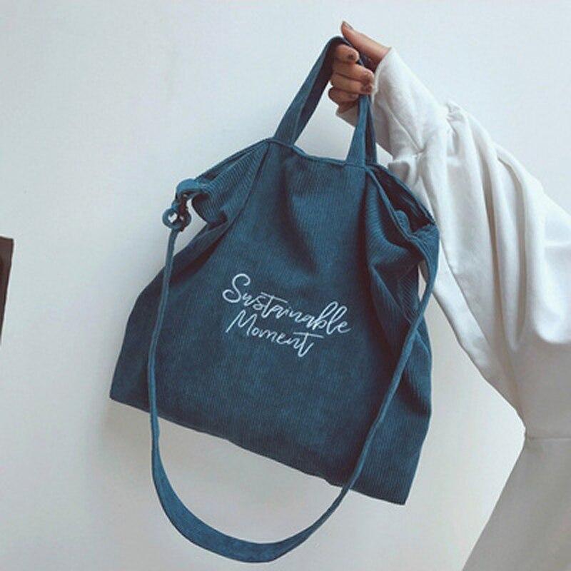 Women Corduroy Canvas Tote Ladies Casual Shoulder Bag Foldable Reusable Shopping Bags Beach Bag Female Cotton Cloth Handbag