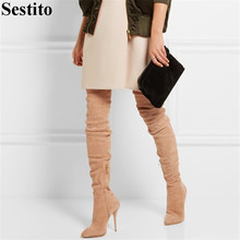 Autumn Winter New Black Flock Thin Heels Fashion Thigh High Boots Pointed Over-the-Knee Boots Women Zip Long Boots Women Shoes