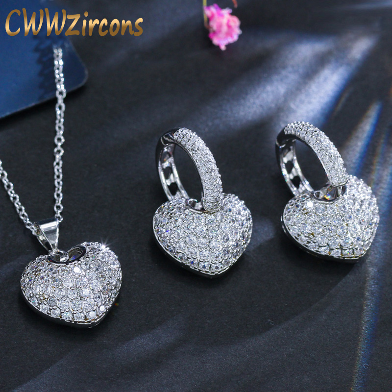 CWWZircons Fashion Cute Heart Shape Cubic Zirconia Stone Love Pendant Necklace Earrings Jewelry Sets For Ladies Gift T052 cute love heart hollow out kitten pendant necklace for women