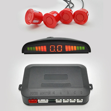 Car LED Parking Sensors With Monitor Kit Reverse 4 Sensors 22mm Backup Rear Sensors 7 Colors Parktronic System 1 Set