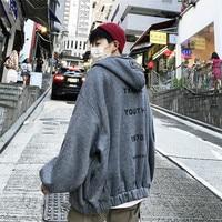 Men's Hoodies Off White Korean Loose Hoodie Men Coat Harajuku Letter Cotton Outerwear Youth Popular Streetwear Hip Hop Coats