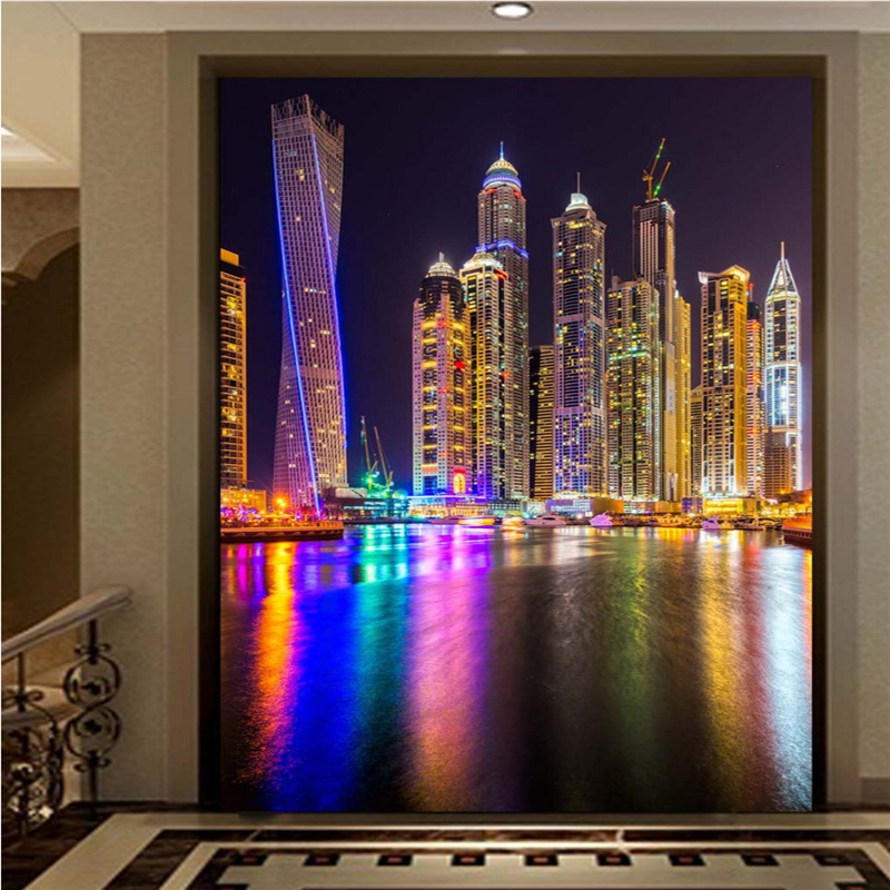 Us 8 85 41 Off Beibehang Custom 3d Wallpaper Aesthetic City Scenery Night Scene Arcade Background Wall Murals In Wallpapers From Home Improvement On