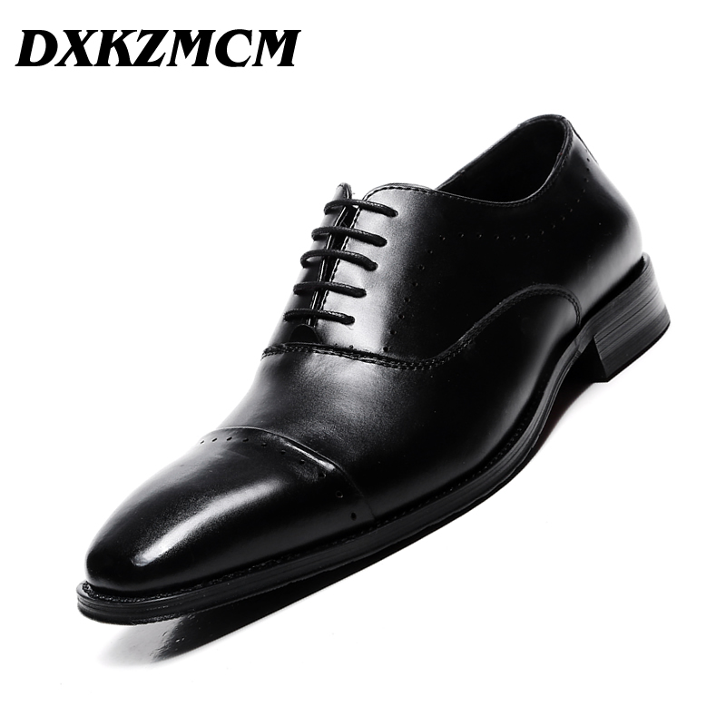DXKZMCM Handmade Men Brogue Shoes Genuine Leather Lace Up Men Formal Dress Oxfords Party Office Wedding недорого