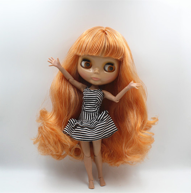 Free Shipping BJD joint RBL-411J DIY Nude Blyth doll birthday gift for girl 4 colour big eyes dolls with beautiful Hair cute toy free shipping bjd joint rbl 415j diy nude blyth doll birthday gift for girl 4 colour big eyes dolls with beautiful hair cute toy