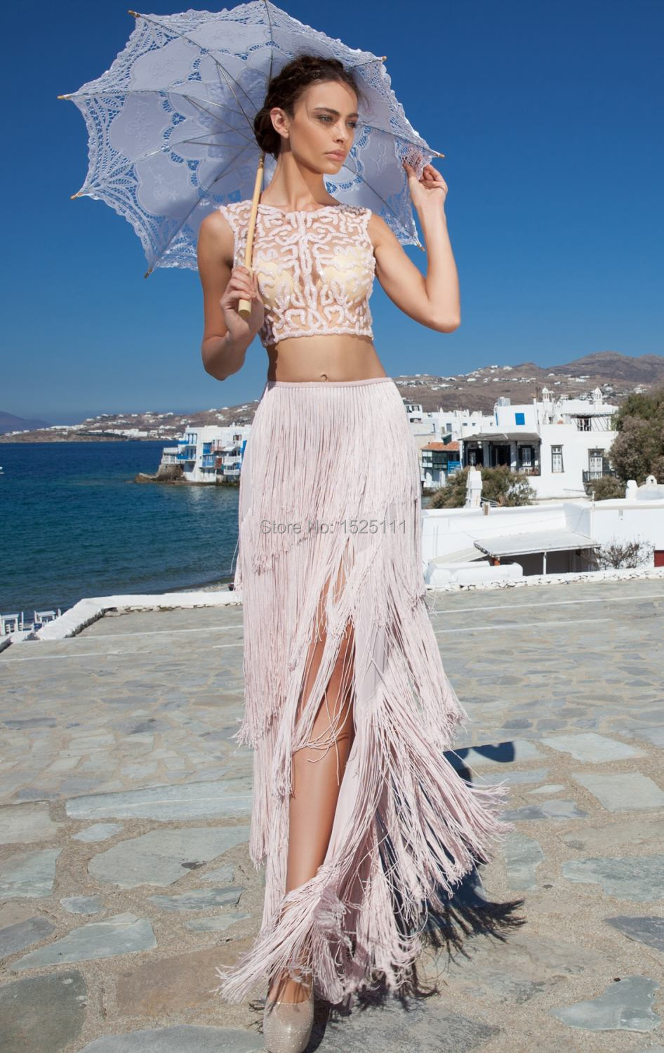 Aliexpress.com : Buy Sexy 2 Piece Prom Dresses 2015 Long Fringe ...